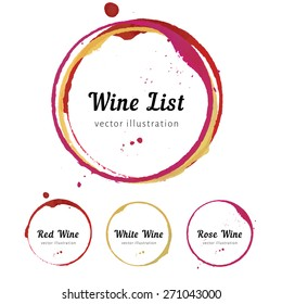 Set of wine glass bottom stain circles  for wine list logo design. Vector isolated wine stain rings. Red white watercolor mug marks. Circle stains for wine card, logo, list, menu.