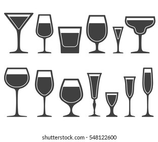 Set of wine glasses different shapes icons with poured liquid inside isolated on white background