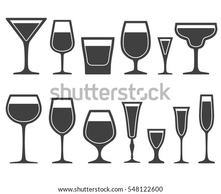 451ee67c2f6 Set of wine glasses different shapes icons with poured liquid inside  isolated on white background