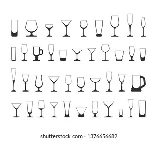 set of wine glasses. vector illustration isolated on white background