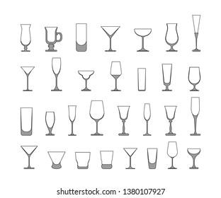 set of wine glasses. vector illustration isolated on white background
