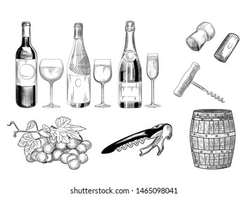 Set of wine. Hand drawn of wine glass, bottle, barrel, wine cork, corkscrew and grapes. Engraving style. Isolated objects on a white background