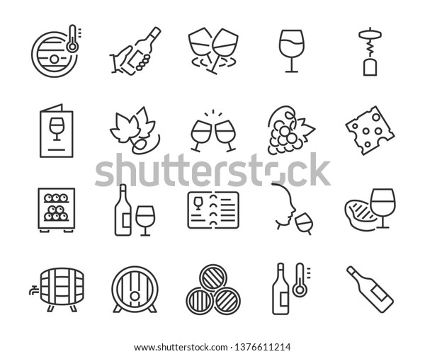 set of wine icon, such as grape, cheese, barrel, bottle, glass