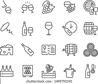 set of wine icons, wine bottle, grape, cork, alcohol, cheese