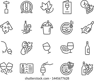 set of wine icons, such as grape, drinks, alcohol, bottle
