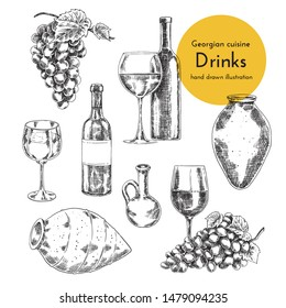 Set of wine illustrations. sketch bottle, qvevri and a glass of wine. hand drawn illustration for the wine menu