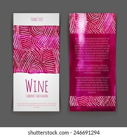 Set of wine labels. Artistic watercolor background