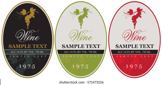 set wine labels with bunch of grapes