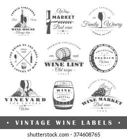 Set of wine labels. Elements for design on the wine theme. Collection of wine symbols: grape, bottle, barrel. Modern labels of wine. Emblems and logos of wine. Vector illustration