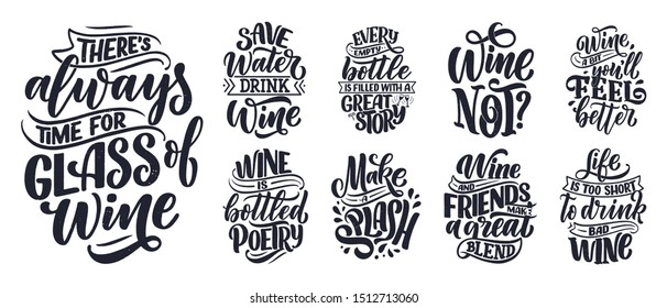 Set of wine lettering compositions in modern style. Alcohol beverage bar drink concept. Vintage typography for prints or posters. Vector illustration.
