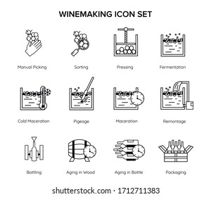 Set of wine making line icons for sommelier education - manual picking, sorting, pressing, pigege, remontage, aging, fermentation, cold maceration.