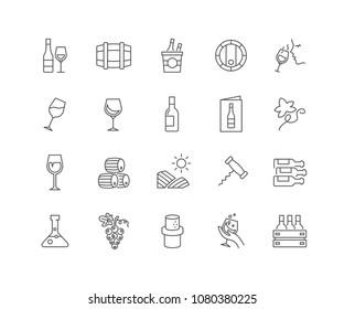 Set von Weinkellereien, einzeln auf weißem Hintergrund.