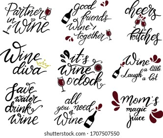 Set of wine quotes, Hand lettering phrases about wine,  it's wine oclock print