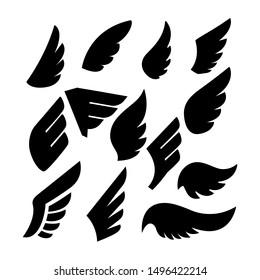 Set of the wing icons. Design element for poster, emblem, sign, logo, label. Vector illustration
