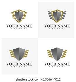 Set of Wing Shield logo vector template, Creative Wings logo design concepts