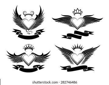 Set of winged hearts in tribal style. Wings, crowns and empty banners for your text. Monochrome isolated on white background.