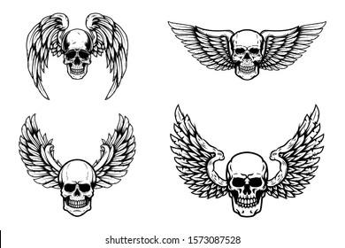 Set of winged human skull isolated on white. Design element for logo, label, emblem, sign. Vector illustration