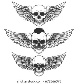 Set of winged skulls isolated on white background. Design elements for poster, t-shirt,  emblem, sign. Vector illustration