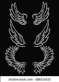 Set of wings. Collection of black-and-white wings for clipart. Abstract angel wings. Tattoo. Vector illustration.