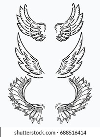 Set of wings. Collection of stylized wings for the clip art. Abstract angel wings. Tattoo. Vector black and white illustration.