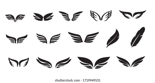 Set of Wings Icon Logo Design Vector Template. Bird wings logo template for design elements.