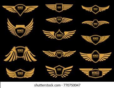 Set of wings icons in golden style. Design elements for logo, label, emblem, sign. Vector illustration