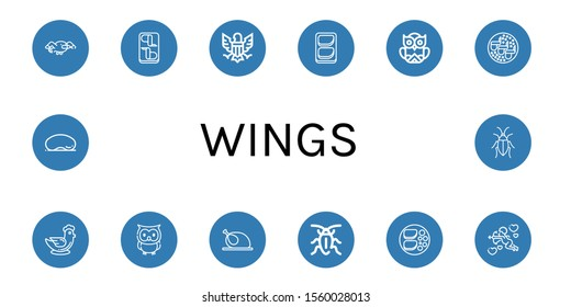 Set of wings icons. Such as Seagull, Chicken wings, Eagle, Chicken breast, Owl, Chicken, Cockroach, Cupid, Cloud gate , wings icons