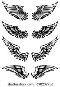 Set of wings illustration isolated on white background. Design elements for logo, label, emblem, sign. Vector illustration