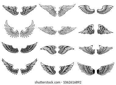 Set of wings illustrations isolated on white background. Design element for logo, label, emblem, sign. Vector illustration
