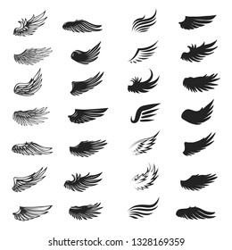 Set of wings isolated on white. Vector illustration.