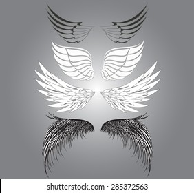 set of wings on gray background. Vector illustration