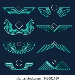 Set of wings, template, design elements, vector illustration, linear style.