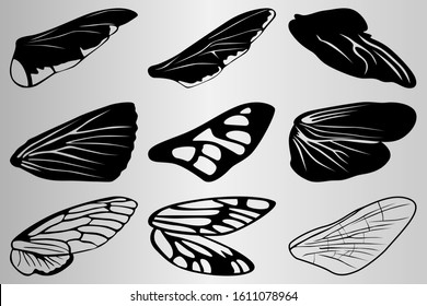 A set of wings of various insects. The silhouette of the wings of insects. Drawing for tattoo. Vector illustration.