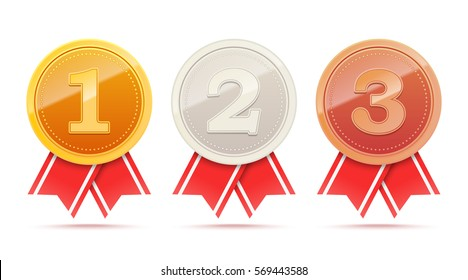 Set of winner medals. First second third place awards. 3D Gold silver bronze metal badges with red ribbon. Vector illustration