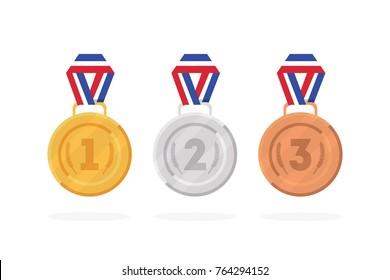 Set of winner medals gold, bronze and silver. Vector illustration