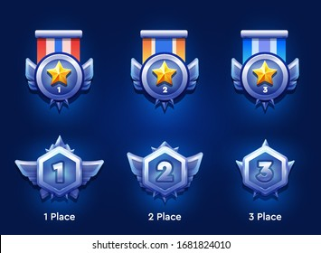 Set of winner medals with wings for game design. First and second rewards awards. Medal with colored ribbons isolated on dark background. Flat vector icon