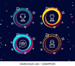 Set of Winner, Shopping cart and Award cup icons. Woman sign. Best star, Dreaming of gift, Trophy. Girl profile.  Circle banners with line icons. Gradient colors shapes. Vector