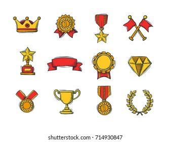 Set of winners color handdrawn icons - goblet, medal and wreath, race flags and belt and sertificate. Vector Illustration.