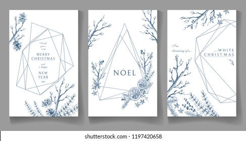 Set of winter cards, geometric trendy crystal design. Hand drawn sketchy graphics, branches, pine-tree, citrus, spices. Terrariums. Vector illustration