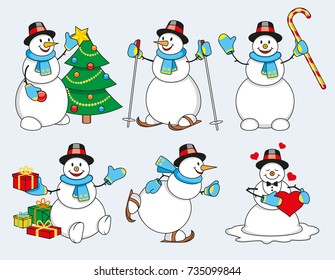 Set of winter cartoon snowman isolated illustration vector
