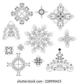 Set of Winter Christmas icons, elements and illustrations items