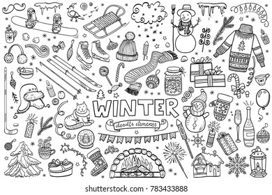 Set of winter doodles with lettering. Hand drawn vector collection of isolated elements, objects and icons.