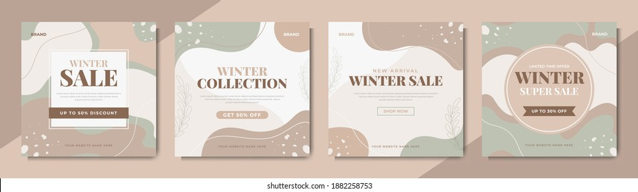 Set of winter fashion sale social media banner template. Winter sale post design for digital marketing and promotion. Web flyer, poster and cover design with brand logo and abstract graphic.