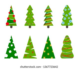 Set of winter flat Christmas trees.Colorful cartoon vector illustration.Can be used for printed materials - greeting card, invitation, banner, web design,leaflets, posters, business cards