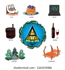 Set of winter glamping, fun, food, comfort, beautiful nature, drink wine, Internet, relax. Camping, outdoor vector illustration