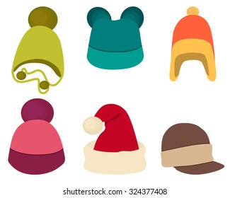 Set winter hat isolated on white background. Vector illustration a5278c523bcb