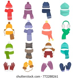 Set of winter hats and scarfs color flat icons