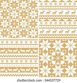 Set of winter holiday backgrounds. Merry Christmas and Happy New Year! Collection of seamless patterns