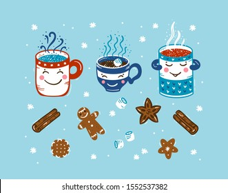 Set of Winter Hot Drinks and Sweets. Cozy Cute Mugs with Beverages Mulled Wine, Coffee or Tea, Cocoa and Gingerbread Cookies, Marshmallow. Winter Holidays, Christmas and New Year Vector Design