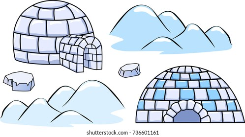 a set of winter igloo houses and ice floes Cartoon vector illustration
